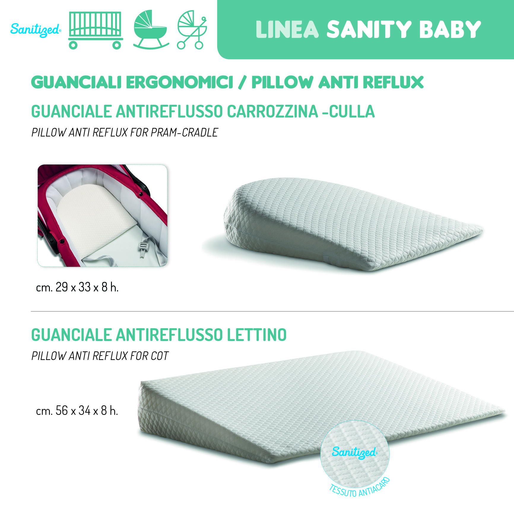 Cuscino Antireflusso Per Lettino.Sanity Baby Guanciali Italbaby Srl